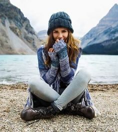 Hooded blanket sweater, beanie and hiking boots