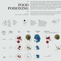 Shortlist in the 'Mini-Challenge: food poisoning' by The Kantar Information is Beautiful Awards.The visualization shows the data on restaurant-associated foodborne outbreaks reported in England and Wales from 1992 to 2009, by national cuisine type.