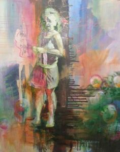 "Saatchi Art Artist Jacqueline Engels; Painting, ""girl in flowerfield"" #art"