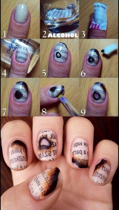 Burnt newspaper nails. Awesome!