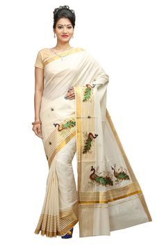 JISB stripe zari Peacock Embroidered kerala kasavu saree with running Blouse…