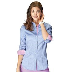 Effortless style! This slim-fit, classic button-down features a cute gingham trim on the collar, placket and sleeves.