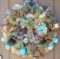 Order this gorgeous cross wreath through CheckeredDaisy on Etsy  $94.99