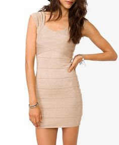 Metallic Bandage Bodycon Dress | FOREVER21 - 2027706071 #bodycon #neutral
