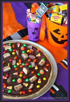Leftover Halloween Candy Pizza!  A sweet treat the whole family can make! by whatscookingwithruthie.com #recipes #halloween #desserts