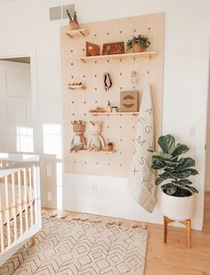 With twins on the way, home décor enthusiast Samantha Warren ( wanted to create a nursery that felt sweet and soothing, but still complimented her design aesthetic. Pegboard Craft Room, Kitchen Pegboard, Craft Rooms, Pegboard Garage, Pegboard Display, Pegboard Organization, Ikea Pegboard, Painted Pegboard, Pegboard Nursery