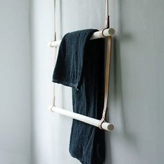 The Albmi double Hanger from Gedigo of Finland is made of Birch and naturally tanned leather and is a perfect solution for a guest room where you Ladder Hanger, Beach Wood Signs, Towel Hangers For Bathroom, Open Wardrobe, Corrugated Roofing, Camping Furniture, Wood Bathroom, Bathroom Ideas, Metal Roof