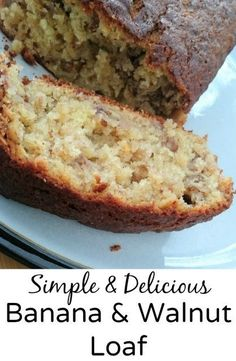 Banana and Walnut Loaf Recipe - an easy to make banana and walnut cake recipe