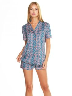 Cosabella Bella Printed Short Sleeve & Boxer Pajama Set