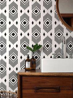 Monochrome Aztec Wallpaper/ Black and White Removable Wallpaper/ Self-adhesive Wallpaper / Wall Covering - 131 - House - Wallpaper Schwarz, Aztec Wallpaper, Pink Wallpaper, Bathroom Wallpaper, Wall Wallpaper, Accent Wallpaper, Wallpaper Ideas, Estilo Interior, Rustic Bathroom Vanities