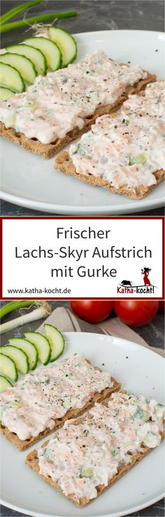 Lachs-Skyr Aufstrich mit Gurke This delicious and light salmon skyr spread with cucumber is not only perfect for Weight Watchers fans - the uncomplicated spread is just as good for breakfast as Cucumber Recipes, Salmon Recipes, Seafood Recipes, Dinner Recipes, Healthy Chicken Recipes, Quick Recipes, Sauce Recipes, Crockpot Recipes, Delicious Sandwiches