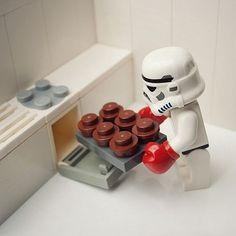 Stormtrooper baking cupcakes.