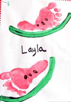 Footprint Watermelon Craft for Kids