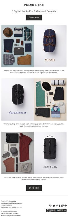 Frank  Oak : Packing List + Destinations