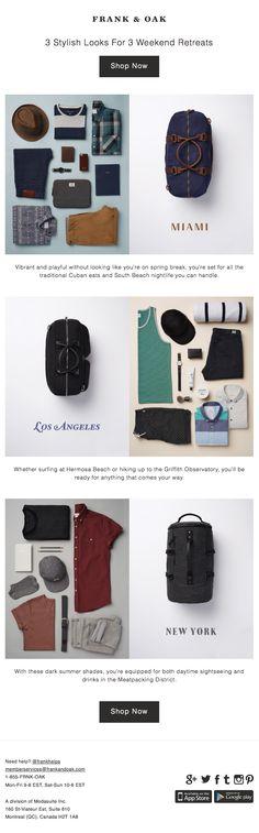 Frank & Oak : Packing List + Destinations