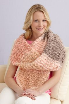 Plush Stripes Shawl; www.lionbrand.com free pattern; made with homespun yarn and size 15 needles.