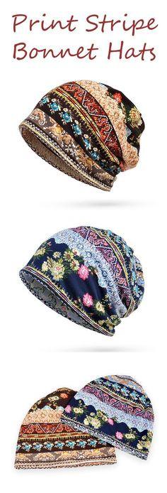 US$ 6.80 Women Cotton Print Stripe Bonnet Hats Casual Outdoor Sun Cap Multi-function Towel
