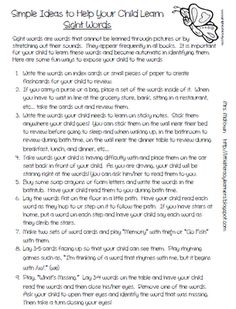 Parent letter with suggestions on how they can help their child learn sight words.