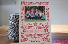 Great idea for Christmas card. I could Gocco the design and then stick on a photo! / Design Dandee Designs.
