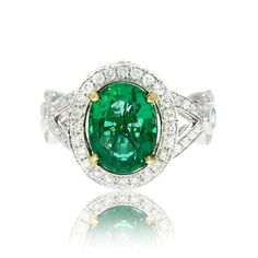 Emerald Diamond Engagement Rings, Designer Engagement Ring, Antique Style Engagement Rings, Oval Emerald Ring 4.59 Total Carat, Green Color  $12K etsy