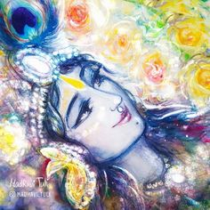 Shri Radha closed her eyes, breathing in the air, fragrant from innumerable flowers. This divine air, giving the highest liberation and… Radha Krishna Pictures, Radha Krishna Photo, Krishna Photos, Krishna Art, Lord Krishna, Krishna Leela, Jai Shree Krishna, Cute Krishna, Radhe Krishna