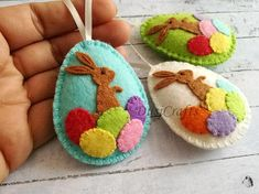 Items similar to Easter bunny eggs, Felt Easter decoration - felt egg with bunny, felt Easter decor, felt Easter eggs - 1 ornament on Etsy Easter Bunny Decorations, Felt Decorations, Easter Decor, Easter Centerpiece, Easter Table, Easter Wreaths, Easter Ideas, Thanksgiving Decorations, Easter Lamb