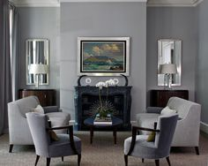 Blue and grey painted rooms blue grey living room paint blue grey Brown And Blue Living Room, Grey Walls Living Room, Living Room Mirrors, Living Room Decor, Living Rooms, Mirror Bedroom, Wall Mirrors, Room Paint Colors, Paint Colors For Living Room