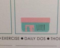 20 Cat litter stickers for Erin Condren Life Planner Filofax Gillio