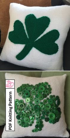 Knitting Patterns for Shamrock Pillows Easy Knitting Patterns, Knitting Projects, Sewing Projects, All Craft, Button Art, Square Quilt, Fourth Of July, Needlework, Pillow Covers