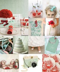 Wedding colors help! :  wedding blue color red Retro Wedding Ideas Vintage Red And Blue