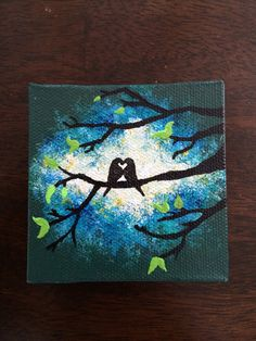 Love Birds in Tree in Jungle Green and Blue Burst on Mini Canvas Hand Painted with Magnet.  Size 3x3 on Etsy, $14.99