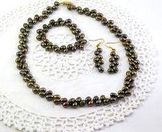 Peacock genuine freshwater pearl jewelry set by jewlerystar