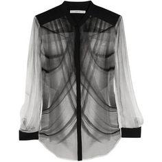 Dion Lee Printed silk-georgette shirt
