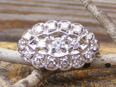 Vintage Diamond Engagement Princess or Dinner Ring A by Ringtique, $475.00. Omg it looks so much like mine, except mine doesn't have so many diamonds.