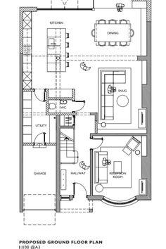 Kitchen Extension Floor Plan, 1930s House Extension, House Extension Plans, House Extension Design, Open Plan Kitchen Living Room, Extension Designs, Extension Ideas, 1930s House Renovation, Floor Plan Layout