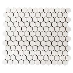 Mosaikfliese Hexagon Uni HX 055 (26 x 30 cm, Weiß)