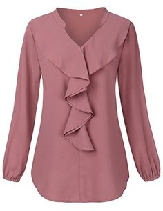 Pink Blouses for Women,HNNATTA Notch Neck Lotus Leaf Ruffle Casual Chiffon Curved Sleeve Shirt Blouse Pink Small