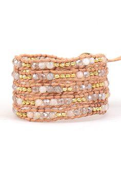 Gold Sunstone Mix Wrap Bracelet on Natural Leather | Talulah Lee