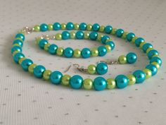 Turquoise and Lime Green Bridesmaid Wedding by CherishedJewelryCo, $38.00