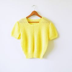 Vintage Lemon Yellow Pastel Knit Blouse / Scalloped Neck Spring Sweater / Sweet Pastel Knit Sweater by thehappyforest on Etsy