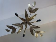Sun burst antique French gilded toleware lighting gilded tole star burst chandelier hanging ceiling light lamp, chic design from France