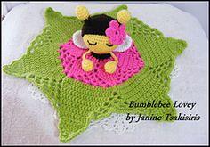 Ravelry: Bumble bee Lovey pattern by Janine Tsakisiris Crochet Security Blanket, Crochet Lovey, Crochet Bee, Lovey Blanket, Crochet Gifts, Baby Blanket Crochet, Crochet For Kids, Crochet Dolls, Amigurumi Patterns