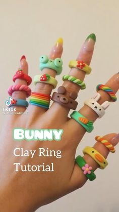 Fimo Ring, Polymer Clay Ring, Polymer Clay Crafts, Fimo Clay, Polymer Clay Animals, Polymer Clay Flowers, Diy Crafts Jewelry, Fun Diy Crafts, Ring Tutorial