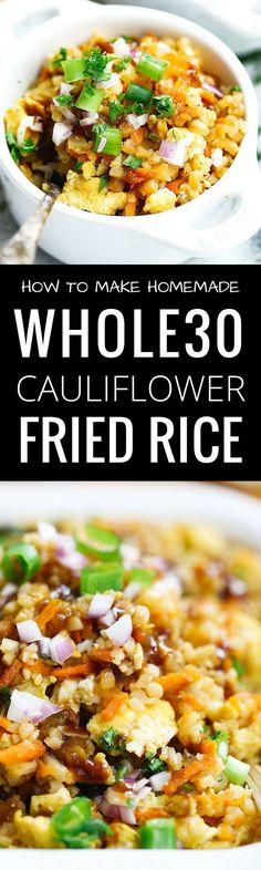 Whole30 Cauliflower Fried Rice! Cauliflower rice recipes here. Whole 30 cauliflower rice. Healthy cauliflower rice. A paleo cauliflower fried rice without the mess! How to make cauliflower rice at home. Whole30 cauliflower fried rice recipe. Whole30 meal ideas. Easy whole30 dinner recipes. Whole30 recipes. Whole30 lunch. Whole30 meal planning. Whole30 meal prep. Healthy paleo meals. Healthy Whole30 recipes. Easy Whole30 recipes. Easy whole30 dinner recipes. via @themovementmenu