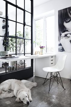 What a gorgeous and simple home office. Love the natural light and the big black and white canvas on the wall. Extra points for the cute dog :-)
