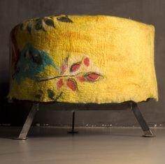 gorgeous felt & silk pouf