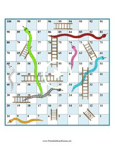 freebie - lots of board games like Printable Snakes and Ladders Game Board: Use a die and any game pieces you like for this printable board game of snakes and ladders, similar to chutes and ladders. Dice Games, Math Games, Fun Games, Games For Kids, Articulation Activities, Therapy Activities, Snakes And Ladders Template, Snakes And Ladders Printable, Board Game Template