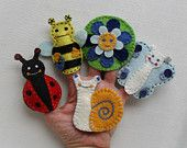 Items similar to Meadow animals finger puppets, Felt animals, Felt puppets -blue on Etsy Felt Puppets, Puppets For Kids, Felt Finger Puppets, Hand Puppets, Felt Animal Patterns, Stuffed Animal Patterns, Doll Patterns, Finger Puppet Patterns, Felt Kids