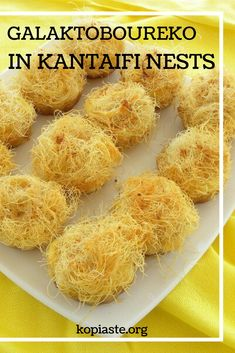 Galaktoboureko in kantaifi nests is a twist of two Greek recipes - pastry with semolina pudding and kantaifi which is pastry with nuts. Check out this authentic Greek recipe! Semolina Pudding, Cypriot Food, Vanilla Essence, Greek Recipes, Cravings, Dairy Free, Yummy Food, Nests, Baking