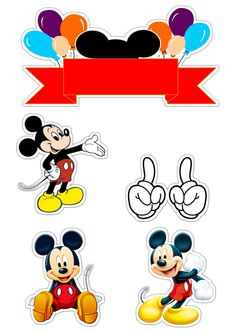 Mickey Mouse And Friends, Mickey Minnie Mouse, Disney Mickey, Birthday Tags, Birthday Cake Toppers, Scrapbook Stickers, Planner Stickers, Imprimibles Mickey Mouse, Bolo Mickey